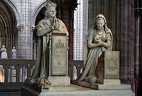 Memorial to Louis XVI (1754 - 1793) and Marie Antoinette (1755 - 1793), 1819, Marble, Edme Gaulle and Pierre Petitot, praying figure of Claude of France and her son in the distance, Abbey church of Saint Denis, Seine Saint Denis, France. Picture by Manuel Cohen