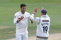 Duanne Olivier of Yorkshire celebrates taking the wicket of Tom Westley during Essex CCC vs Yorkshire CCC, Specsavers County Championship Division 1 Cricket at The Cloudfm County Ground on 8th July 2019