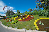 Switzerland, Geneva, Lake Geneva. Flower clock.