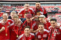 Barnsley players celebrating after winning the Johnstone's Paint Trophy Final match between Oxford United and Barnsley at Wembley Stadium, London, England on 3 April 2016. Photo by Alan  Stanford / PRiME Media Images.