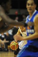 Hawks forward Mika Vukona drives up the court. NBL Semifinal - Wellington Saints v Nelson Giants at TSB Bank Arena, Wellington, New Zealand on Friday, 15 July 2011. Photo: Dave Lintott / lintottphoto.co.nz