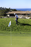 Mackenzie Hughes (CAN) chips onto the 4th green at Spyglass Hill during Thursday's Round 1 of the 2018 AT&amp;T Pebble Beach Pro-Am, held over 3 courses Pebble Beach, Spyglass Hill and Monterey, California, USA. 8th February 2018.<br /> Picture: Eoin Clarke | Golffile<br /> <br /> <br /> All photos usage must carry mandatory copyright credit (&copy; Golffile | Eoin Clarke)