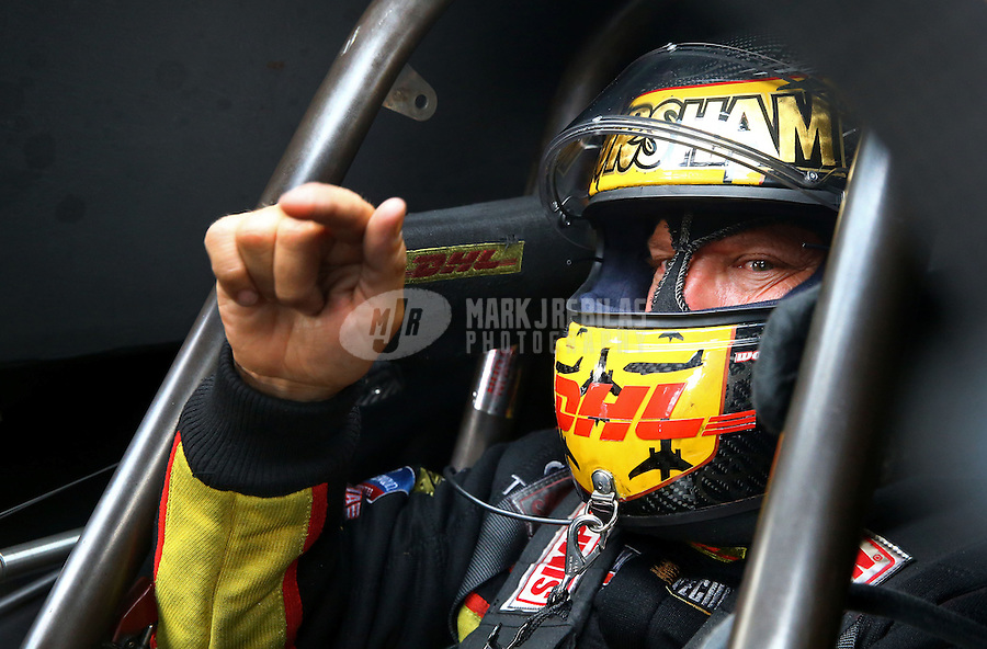 Aug. 31, 2013; Clermont, IN, USA: NHRA funny car driver Del Worsham during qualifying for the US Nationals at Lucas Oil Raceway. Mandatory Credit: Mark J. Rebilas-