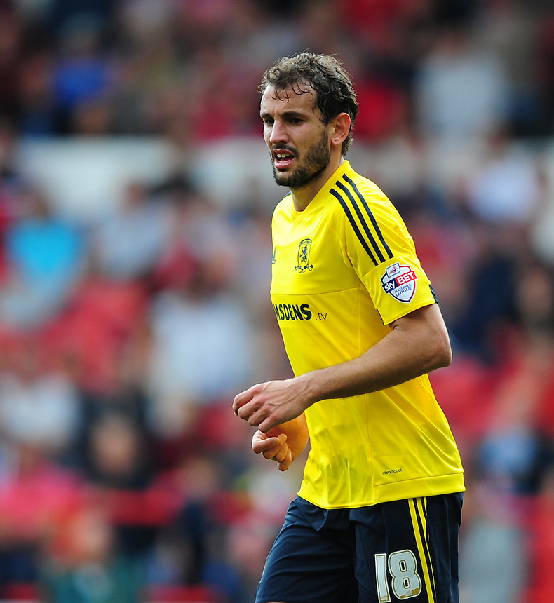 Middlesbrough's Christian Stuani<br /> <br /> Photographer Chris Vaughan/CameraSport<br /> <br /> Football - The Football League Sky Bet Championship - Nottingham Forest v Middlesbrough - Saturday 19th September 2015 - City Ground - Nottingham<br /> <br /> &copy; CameraSport - 43 Linden Ave. Countesthorpe. Leicester. England. LE8 5PG - Tel: +44 (0) 116 277 4147 - admin@camerasport.com - www.camerasport.com