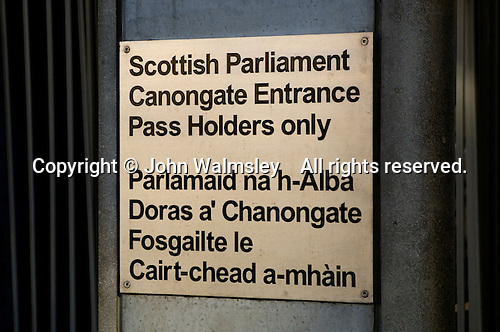 Entry signs in English & Gaelic at the new Scottish Parliament building at Holyrood, Edinburgh.  Designed by Spanish architect, Enric Miralles.