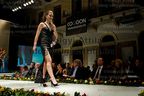 Timea Gelencser attends the Miss Hungary 2010 beauty contest held in Budapest, Hungary on November 29, 2010. ATTILA VOLGYI