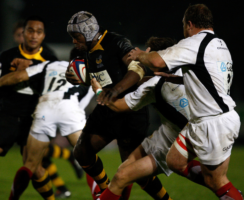 Photo: Richard Lane/Richard Lane Photography. London Wasps A v Saracens Stormers. Aviva A League. 04/10/2010. Wasps' Serge Betsen attacks.