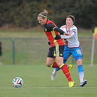 20161023 - TUBIZE , BELGIUM : Belgian Maud Coutereels (L) and Russian Elena Terekhova (R) pictured during a friendly game between the women teams of the Belgian Red Flames and Russia at complex Euro 2000 in Tubize , Sunday 23 October 2016 ,  PHOTO Dirk Vuylsteke | Sportpix.Be