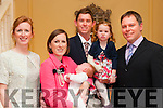 Baby Cyril Jones with his parents Colin & Sylvia Jones, Ballylongford & Bermuda and sister Elaine & god parents Paul & Andrea Gray who was christened  St. Mary's Church, Listowel by Canon Declan O'Connor on Saturday last and afterwards at the Listowel Arms Hotel.