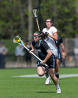 Newton, Massachusetts - April 23, 2016: NCAA Division I. Johns Hopkins University (black) defeated Boston College (white), 12-9, at Newton Campus Field.