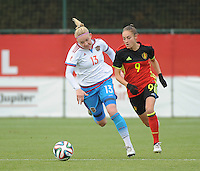 20161023 - TUBIZE , BELGIUM : Belgian Tessa Wullaert (R) and Russian Anna Belomyttseva (L) pictured during a friendly game between the women teams of the Belgian Red Flames and Russia at complex Euro 2000 in Tubize , Sunday 23 October 2016 ,  PHOTO Dirk Vuylsteke | Sportpix.Be