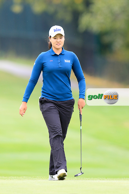 In Gee Chun (KOR) sinks her putt on the 12th green during Saturday's Round 3 of The 2016 Evian Championship held at Evian Resort Golf Club, Evian-les-Bains, France. 17th September 2016.<br /> Picture: Eoin Clarke | Golffile<br /> <br /> <br /> All photos usage must carry mandatory copyright credit (&copy; Golffile | Eoin Clarke)