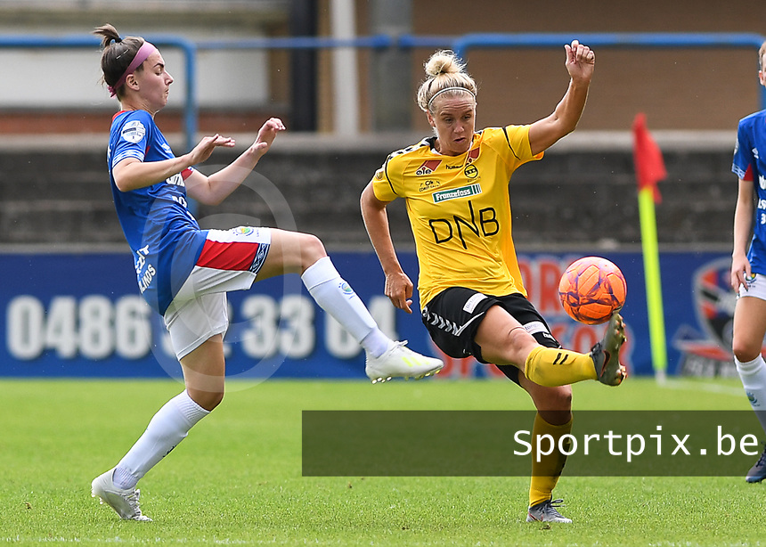 20190807 - DENDERLEEUW, BELGIUM : LSK's Elise Thorsnes pictured in a fight for the ball with Linfield's Chloe McCarron (left) during the female soccer game between the Norwegian LSK Kvinner Fotballklubb Ladies and the Northern Irish Linfield ladies FC , the first game for both teams in the Uefa Womens Champions League Qualifying round in group 8 , Wednesday 7 th August 2019 at the Van Roy Stadium in Denderleeuw  , Belgium  .  PHOTO SPORTPIX.BE for NTB  | DAVID CATRY
