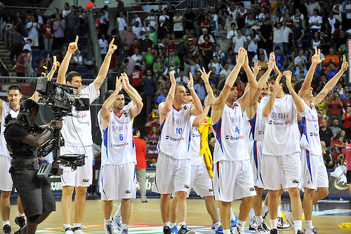 Sep 08, 2010; Istanbul, TURKEY; Serbia defeats Spain 92:89 in a quarterfinal match of the 2010 FIBA World Championship at the Abdi Ipekci Arena. Players of Serbia celebrate the victory.