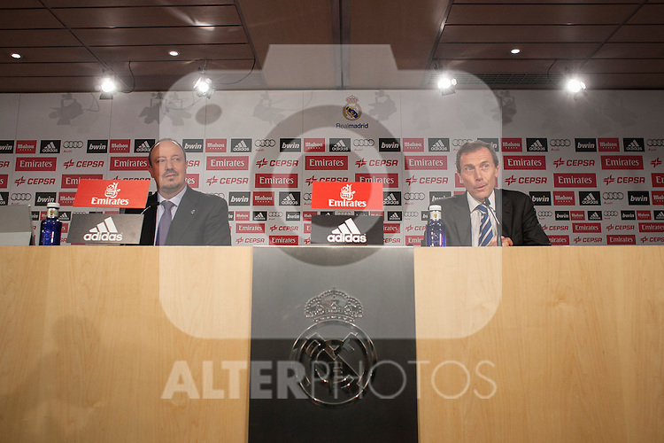 New Real Madrid coach Rafael Benitez (L) and Emilio Butragueno at press conference during his official presentation at the Santiago Bernabeu stadium in Madrid, Spain. June 03, 2015. (ALTERPHOTOS/Victor Blanco)
