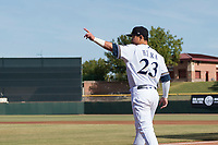 Peoria Javelinas second baseman Keston Hiura (23), of the Milwaukee Brewers organization, walks towards the mound after being announced as the league MVP before the Arizona Fall League Championship game against the Salt River Rafters at Scottsdale Stadium on November 17, 2018 in Scottsdale, Arizona. Peoria defeated Salt River 3-2 in 10 innings. (Zachary Lucy/Four Seam Images)