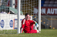 Goalkeeper Paul Manners (BGT 2015) takes a break during the 'Greatest Show on Turf' Celebrity Event - Once in a Blue Moon Events at the London Borough of Barking and Dagenham Stadium, London, England on 8 May 2016. Photo by Andy Rowland.