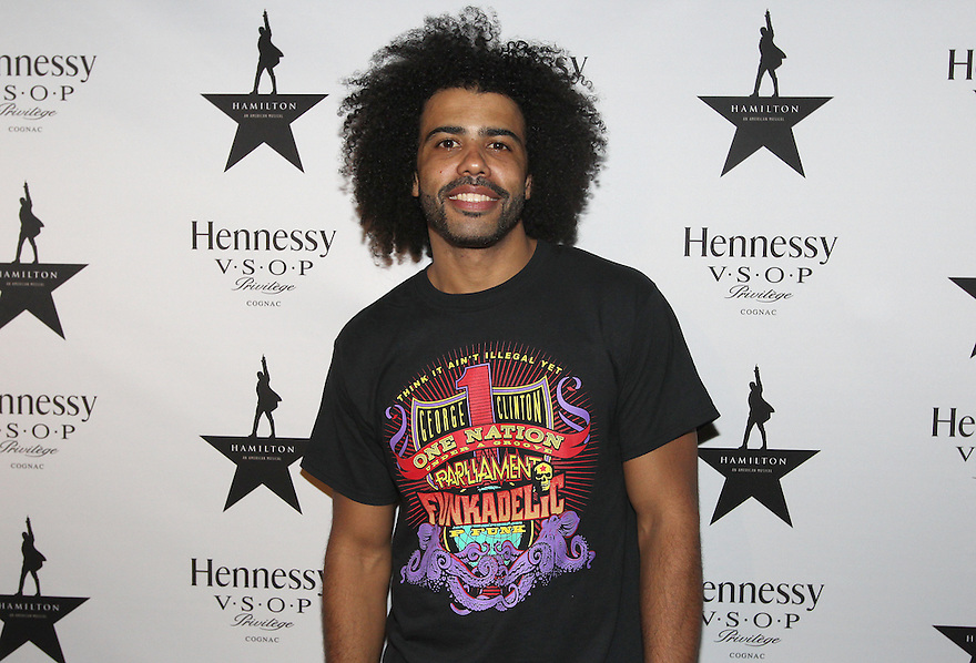 Actor Daveed Diggs is seen at Hennessy V.S.O.P Celebrates Hamilton's 1st Week of performances on Broadway at URBO on Saturday, July 18, 2015, in New York. (Photo by Donald Traill/Invision for Hennessy/AP Images)