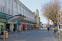 Pictured: Oxford Street, the main shopping district in the city centre, is empty of shoppers in Swansea, Wales, UK. Sunday 22 March 2020<br /> Re: Covid-19 Coronavirus pandemic, UK.