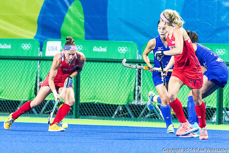 Michelle Kasold #18 of United States carries the ball while Kathleen Sharkey #24 of United States gets into position during USA vs Japan in a Pool B game at the Rio 2016 Olympics at the Olympic Hockey Centre in Rio de Janeiro, Brazil.