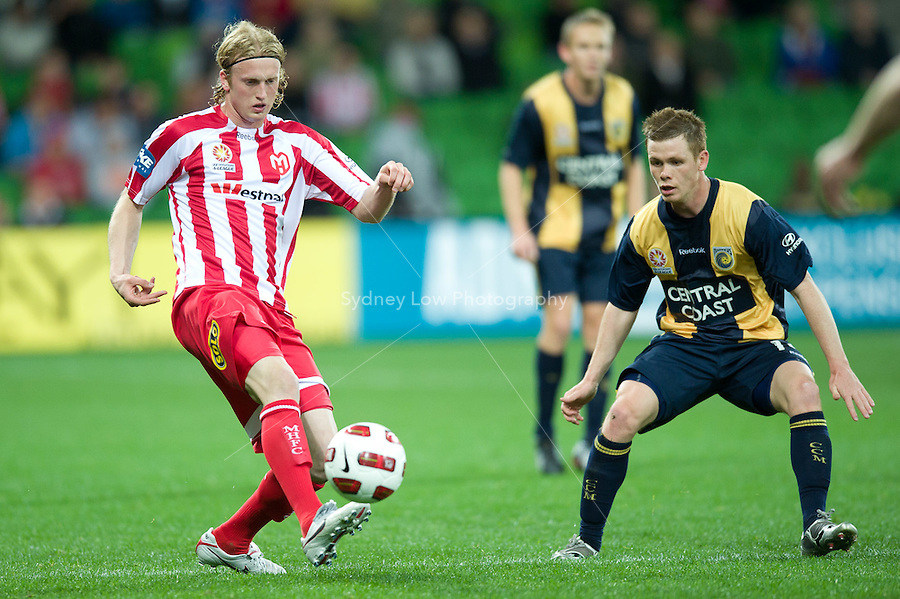 MELBOURNE, AUSTRALIA - AUGUST 5, 2010: Rutger Worm from the Heart kicks the ball in Round 1 of the 2010 A-League between the Melbourne Heart and Central Coast Mariners at AAMI Park on August 5, 2010 in Melbourne, Australia. (Photo by Sydney Low / www.syd-low.com)