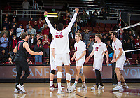 STANFORD, CA - January 17, 2019: Kyle Dagostino, Jaylen Jasper, Paul Bischoff, Jordan Ewert, Kyler Presho at Maples Pavilion. The Stanford Cardinal defeated UC Irvine 27-25, 17-25, 25-22, and 27-25.