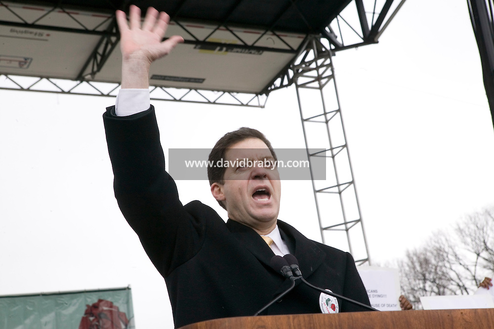 22 January 2007 - Washington, DC - US Senator Sam Brownback from Kansas gives a speech during the annual anti-abortion March for Life in Washington, DC, USA, on the 34th anniversary of the Supreme Court's Roe v Wade decision, 22 January 2007.