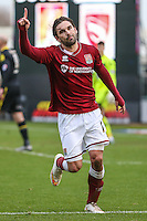 Ricky Holmes of Northampton Town celebrates his team's second goal of the game against Morecambe to make it 2-0 during the Sky Bet League 2 match between Northampton Town and Morecambe at Sixfields Stadium, Northampton, England on 23 January 2016. Photo by David Horn / PRiME Media Images.