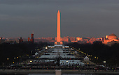 Dawn breaks as people gather on the National Mall prior to the Inauguration Ceremony of President Donald Trump on the West Front of the U.S. Capitol on January 20, 2017 in Washington, D.C.  Trump became the 45th President of the United States.     <br /> Credit: Pat Benic / Pool via CNP