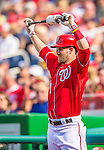 15 September 2013: Washington Nationals outfielder Bryce Harper stands on deck during a game against the Philadelphia Phillies at Nationals Park in Washington, DC. The Nationals took the rubber match of their 3-game series 11-2 to keep their wildcard postseason hopes alive. Mandatory Credit: Ed Wolfstein Photo *** RAW (NEF) Image File Available ***