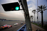 Feb 21, 2009; Fontana, CA, USA; NASCAR Nationwide Series drivers race down the backstretch during the Stater Brothers 300 at Auto Club Speedway. Mandatory Credit: Mark J. Rebilas-