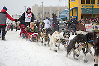 David Sawatzky and team leave the ceremonial start line at 4th Avenue and D street in downtown Anchorage during the 2013 Iditarod race. Photo by Jim R. Kohl/IditarodPhotos.com