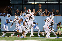 CHAPEL HILL, NC - SEPTEMBER 07: Jarren Williams #15 of the University of Miami throws a pass during a game between University of Miami and University of North Carolina at Kenan Memorial Stadium on September 07, 2019 in Chapel Hill, North Carolina.
