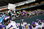 A Seattle Seahawks fan displays a sign while heckling the Minnesota Vikings before they head out for pre-game ceremonies at CenturyLink Field in Seattle, Washington on  November 17, 2013.  The Seahawks beat the Vikings 41-20.  ©2013.  Jim Bryant. All Rights Reserved.