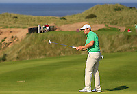 Colm Campbell (IRL) on the 14th green during the Afternoon Singles between Ireland and Wales at the Home Internationals at Royal Portrush Golf Club on Thursday 13th August 2015.<br /> Picture:  Thos Caffrey / www.golffile.ie