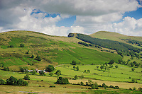 View looking from Mam Tor towards Barker Bank near Castleton , Derbyshire in the High Peak District.