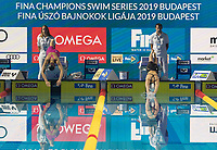 Second placed Wang Jianjiahe (L) of China and fourth placed Li Bingjie (R) of China compete in the Women's 400m Freestyle competition at the FINA Champions Swim Series at the Danube Arena in Budapest, Hungary on May 11, 2019. ATTILA VOLGYI