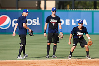 18 September 2012: France Luc Piquet, Emmanuel Garcia and Maxime Lefevre are seen during Team France practice, at the 2012 World Baseball Classic Qualifier round, in Jupiter, Florida, USA.