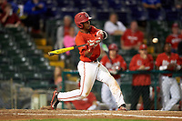 Ohio State Buckeyes catcher Jalen Washington (2) at bat during a game against the Pitt Panthers on February 20, 2016 at Holman Stadium at Historic Dodgertown in Vero Beach, Florida.  Ohio State defeated Pitt 11-8 in thirteen innings.  (Mike Janes/Four Seam Images)