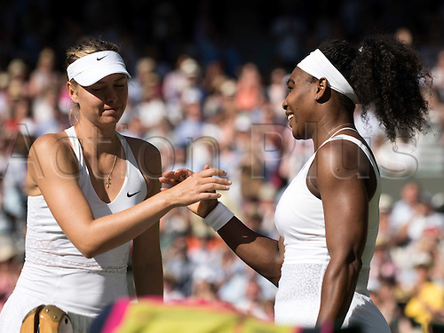 09.07.2015. Wimbledon, England. The Wimbledon Tennis Championships. Ladies Singles semi-final match between top seed Serena Williams (USA) and fourth seed Maria Sharapova (RUS). Serena Williams shakes hands with Sharapova