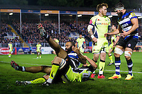 Kane Palma-Newport of Bath Rugby celebrates scoring a try. Aviva Premiership match, between Bath Rugby and Sale Sharks on October 7, 2016 at the Recreation Ground in Bath, England. Photo by: Patrick Khachfe / Onside Images