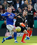 Harvey Barnes of Leicester City challenges Jorginho of Chelsea during the Premier League match at the King Power Stadium, Leicester. Picture date: 1st February 2020. Picture credit should read: Darren Staples/Sportimage