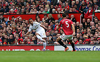 Pictured: (L-R) Wayne Routledge, Rio Ferdinand.<br /> Sunday 12 May 2013<br /> Re: Barclay's Premier League, Manchester City FC v Swansea City FC at the Old Trafford Stadium, Manchester.