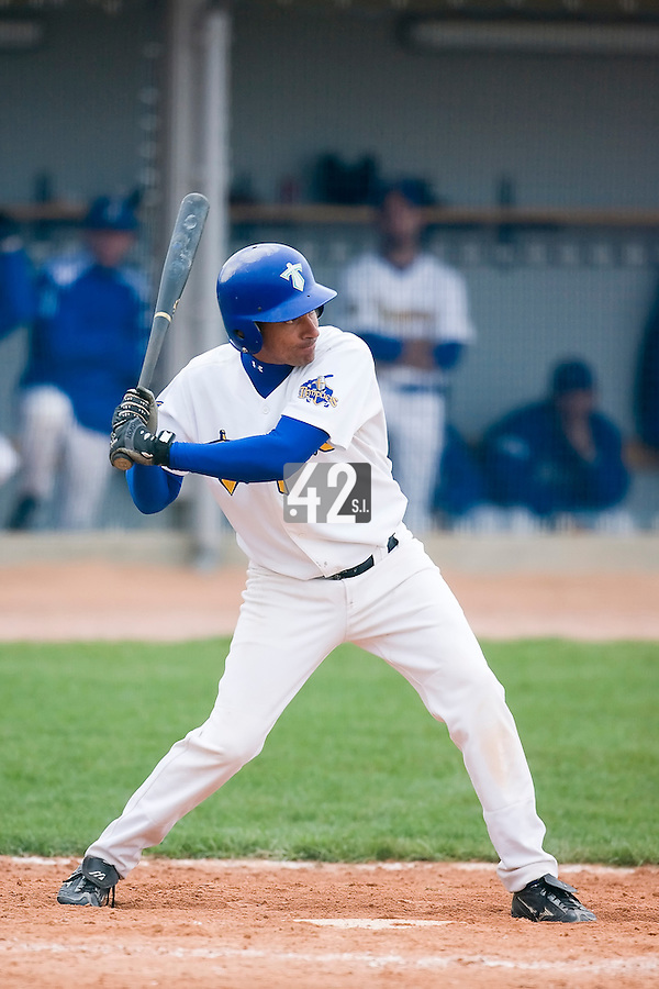 10 Aug 2007: Sylvain Hervieux is seen at bat during game 1 of the french championship finals between Templiers (Senart) and Huskies (Rouen) in Chartres, France. Templiers beat Huskies 1-0.