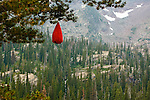 A food bag hanging in a tree above Island Lake in the Mission Mountains above the Seeley Swan Valley in western Montana