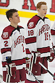 Tyler Moy (Harvard - 2), Mike Seward (Harvard - 18) - The Harvard University Crimson defeated the visiting Princeton University Tigers 5-0 on Harvard's senior night on Saturday, February 28, 2015, at Bright-Landry Hockey Center in Boston, Massachusetts.