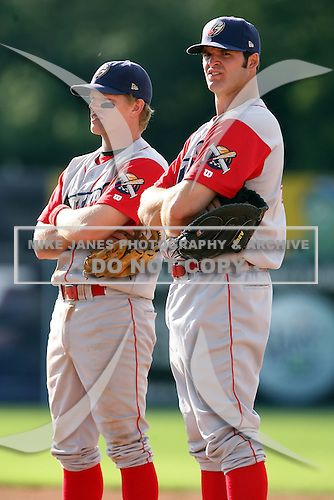 August 3rd 2008:  Bryan Frew (L) and Jim Murphy (R) of the Williamsport Crosscutters, Class-A affiliate of the Philadelphia Phillies, during a game at Dwyer Stadium in Batavia, NY.  Photo by:  Mike Janes/Four Seam Images