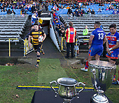 Playing his 100th game for Bombay Mitchell Thackham leads the team out for the Counties Manukau Premier 1 McNamara Cup Final between Ardmore Marist and Bombay, played at Navigation Homes Stadium on Saturday July 20th 2019.<br />  Bombay won the McNamara Cup for the 5th time in 6 years, 33 - 18 after leading 14 - 10 at halftime.<br /> Photo by Richard Spranger.