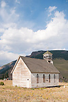 Historic old wooden Catholic Church at the cemetery in Creede, Colo.