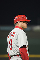Memphis Redbirds manager Mike Shildt (8) of the during the game against the Omaha Storm Chasers in Pacific Coast League action at Werner Park on April 24, 2015 in Papillion, Nebraska.  (Stephen Smith/Four Seam Images)